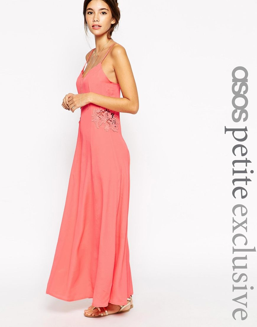 Image 1 of ASOS PETITE Maxi Dress with Lace Insert | Maxi dress ...