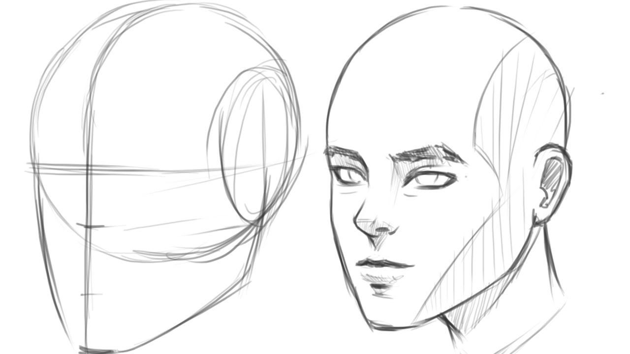 How To Draw Human Head 3 4 View Drawing Tutorial Face Human Drawing Human Face Drawing