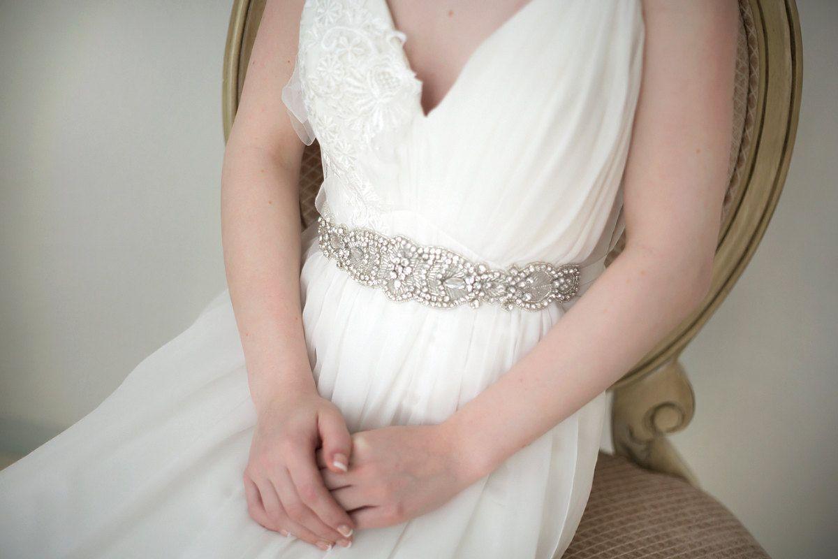 Bridal gown sash crystal wedding dress sash rhinestone