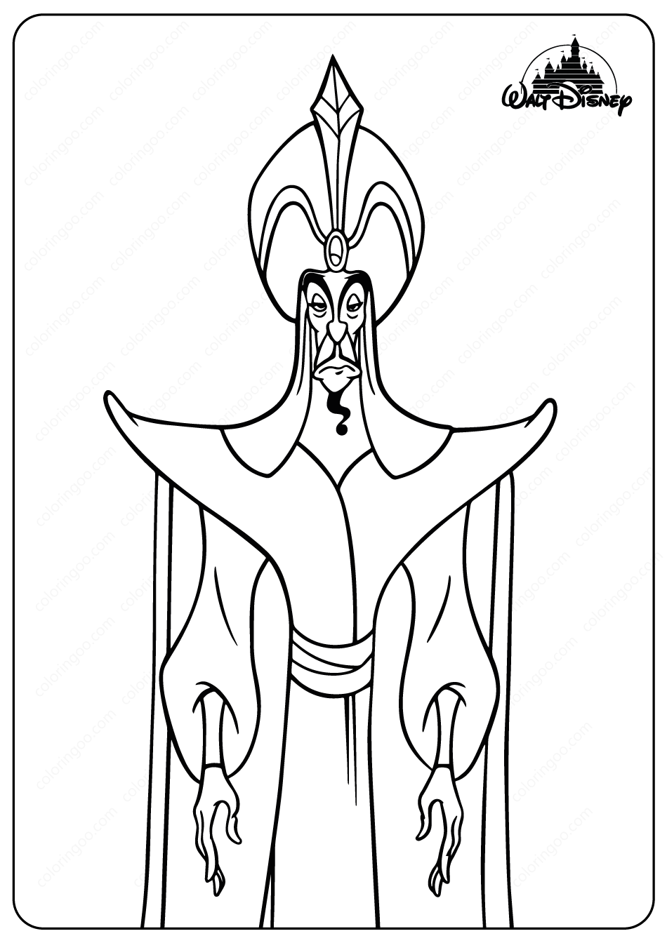 The Evil Sorcerer Jafar Coloring Pages Disney Coloring Pages Disney Villains Coloring Pages Disney Villains Art
