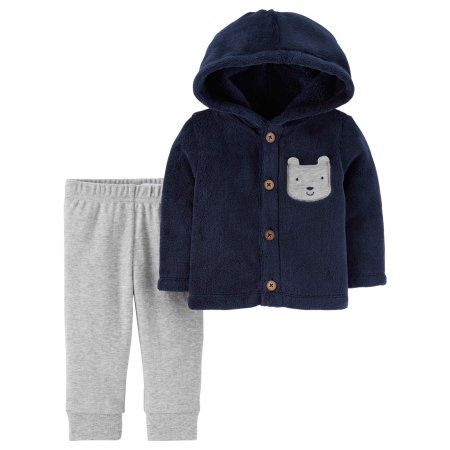 33435d3e4 Child of Mine by Carter s Baby Boy Sherpa Hooded Cardigan   Pants ...
