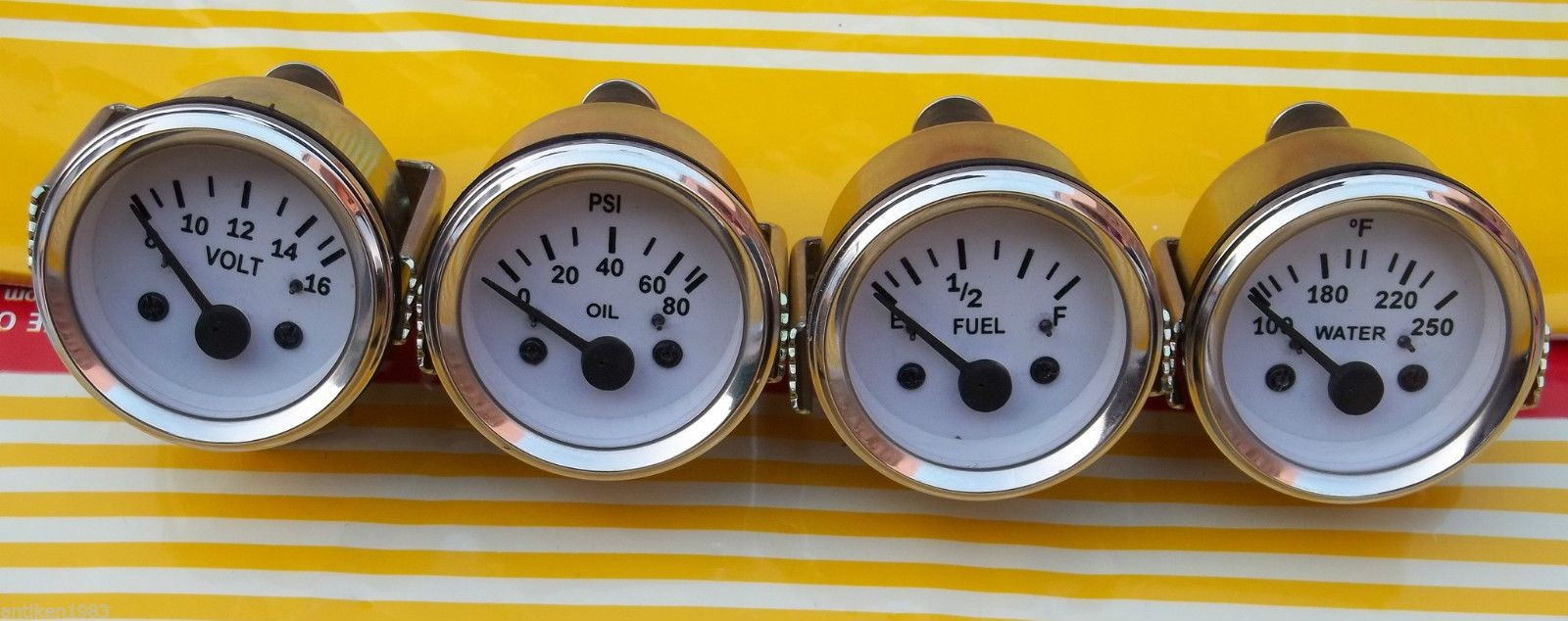 2 52mm Electrical Oil Pressure Temperature Volt Fuel Gauge Vdo Clock Wiring Diagram White Face Motors Parts Accessories Type