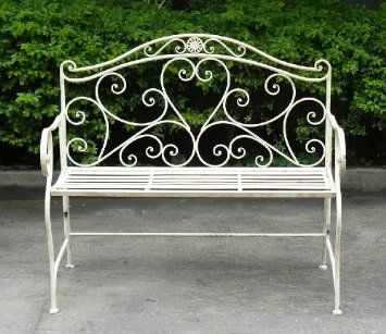 White Wrought Iron Shabby Chic Garden Outdoor Bench 3 4ft 2 Seater