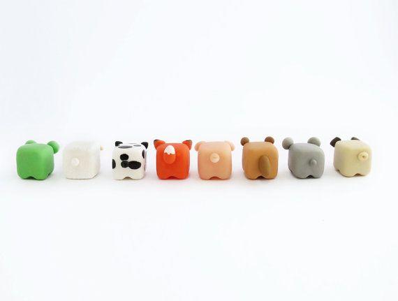 Mignon en cubes animaux miniature figure en argile polymère