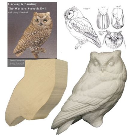 KIT-SCREECH OWL Tupelo WOOD CARVING KIT
