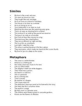 Similes Vs Metaphors Examples Simile Vs Metaphor Similes