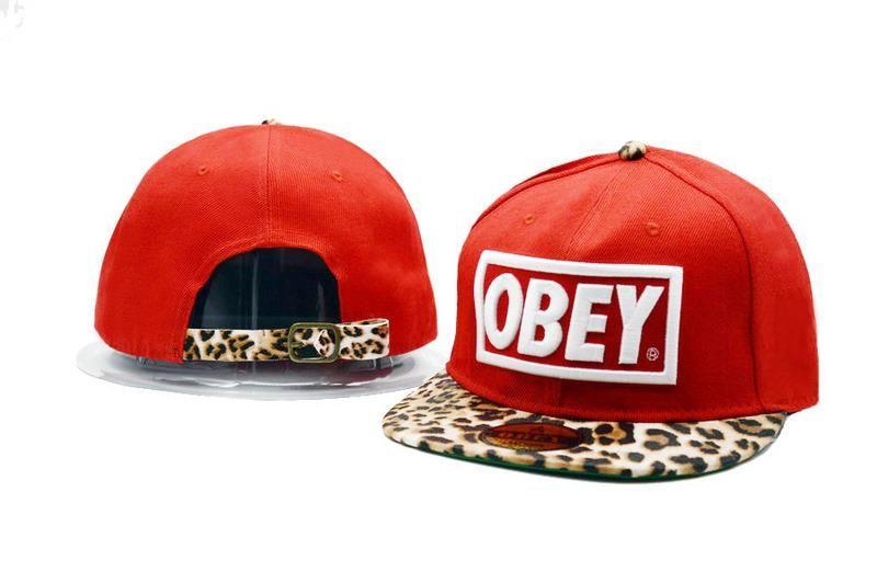 f31c04b1bca Men s Obey Original Box Logo Patch Custom Leopard Print Brim Snapback Hat -  Red