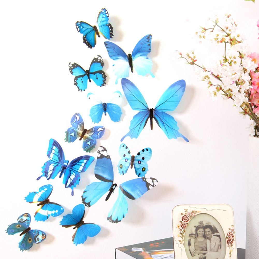 12pcs Lot 3d Diy Wall Sticker Stickers Butterfly Home Decor For Fridge Kitchen Living Room Decoration Adesivo De Parede Ey11 Wall Stickers Room Butterfly Wall Decor Butterfly Wall Decals