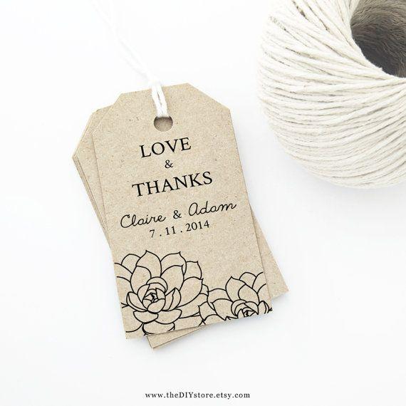 Succulent Wedding Favor Tag Printable Medium Tag Size Wedding Tags