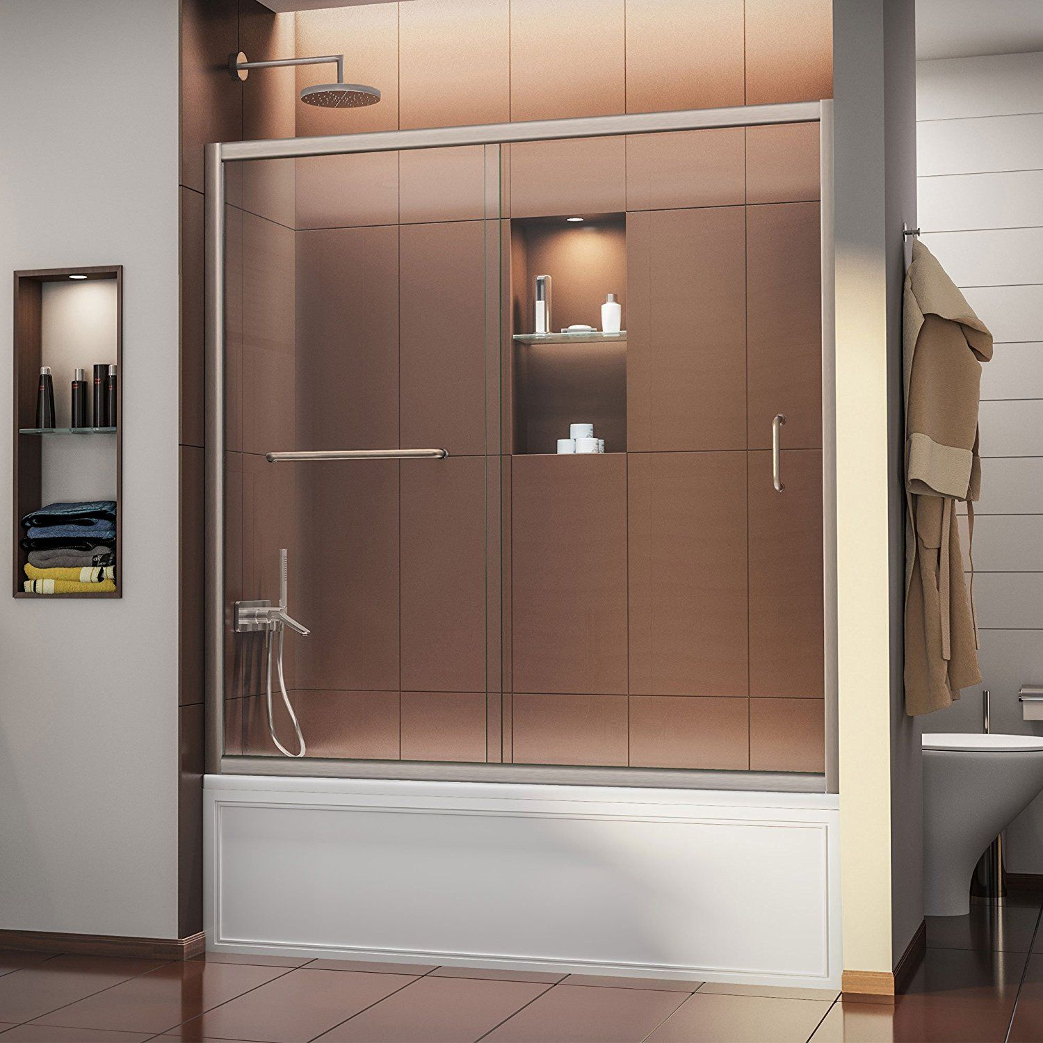Dreamline Infinity Z 56 60 In Width Frameless Sliding Tub Door 1 X2f 4 Quot Glass Brushed Nickel Finish Bathtub Slidin Tub Doors Shower Doors Dreamline