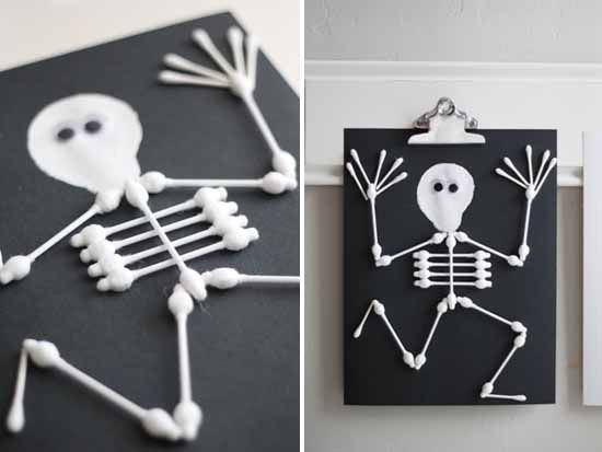 q tip skeleton craft halloween arts crafts for kids this would be - Halloween Art For Kindergarten