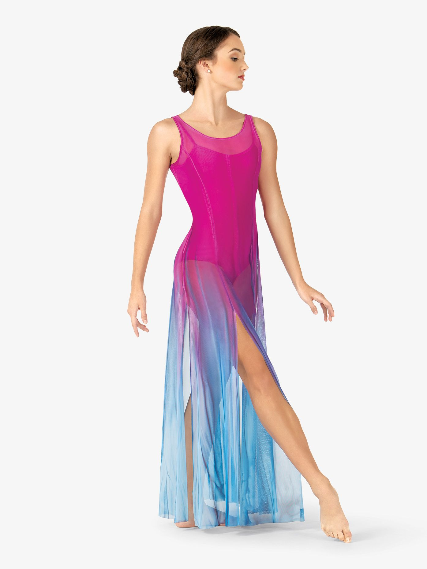 97dfb64ad16d Adult Hand Painted Long Tank Mesh Lyrical Dress