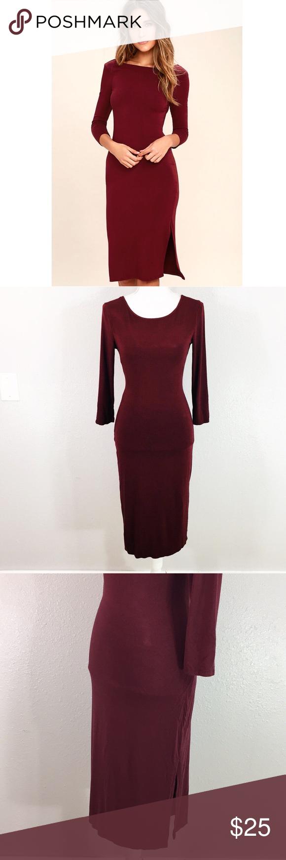 Luluus burgundy scoop back midi dress midi dresses red purple and