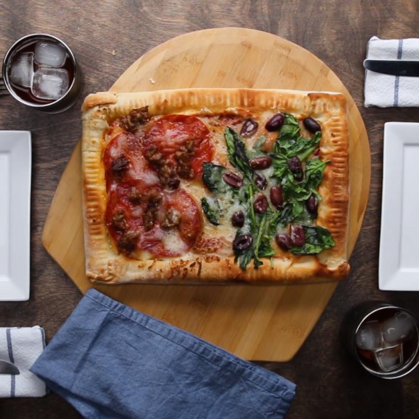 Double-stuffed Sheet-Pan Pizza Recipe by Tasty