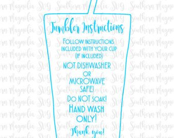 Tumbler Cup Care Card Instructions Print And Cut File - Custom vinyl decal application instructionscare card printable care card instructions printable care