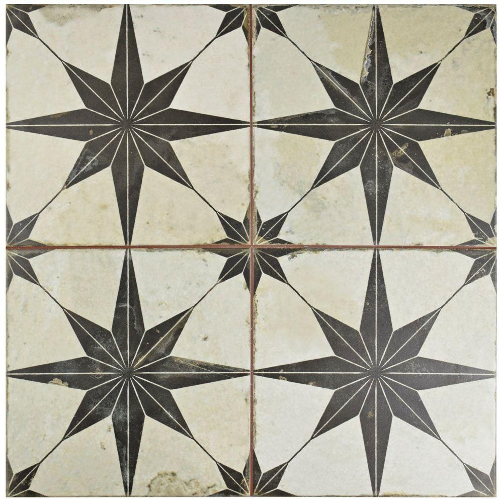 Merola tile kings star nero 17 58 in x 17 58 in ceramic floor merola tile kings star nero 17 58 in x 17 58 in ceramic floor and wall tile 111 sq ft case dailygadgetfo Images