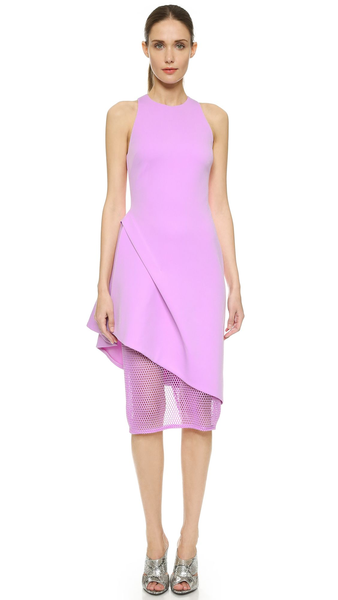 Dresses to wear to a wedding as a guest in april  Cushnie Et Ochs Sheer Panel Sheath Dress  Lilac  SHOPBOPCOM saved