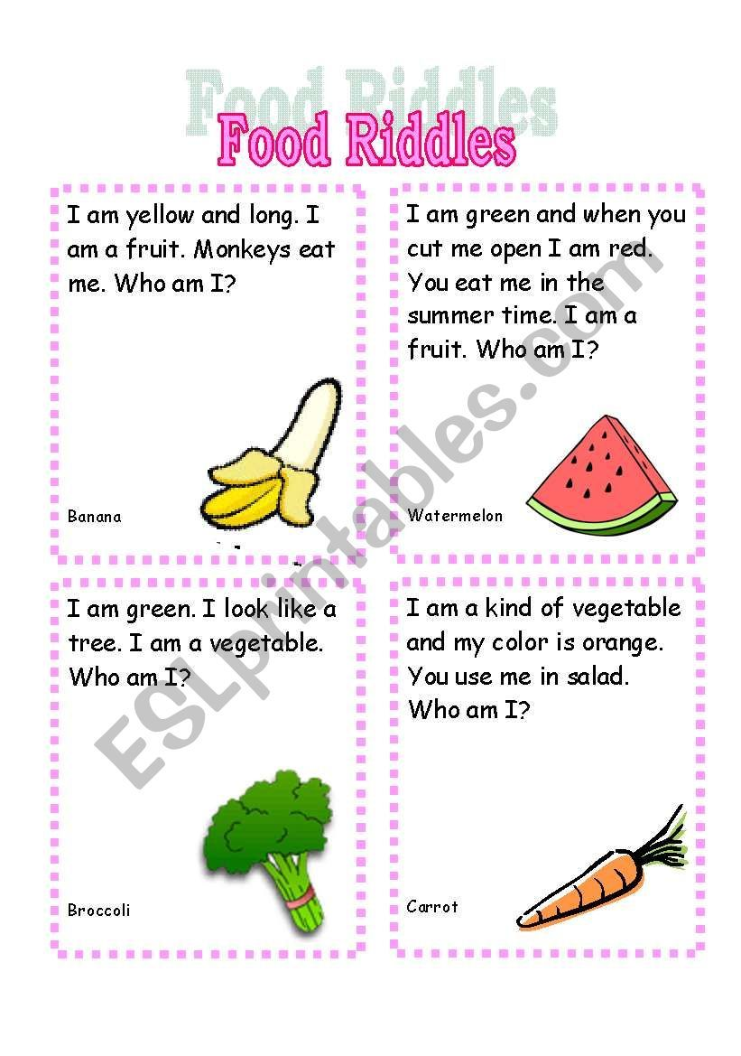 Second Page Of Food Riddles Set Sorry To Post Them As