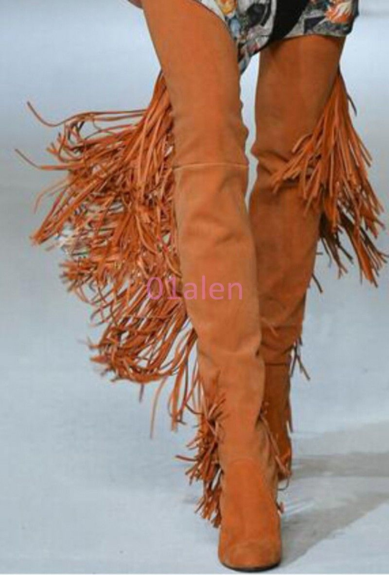 Fringed leather over the knee boots