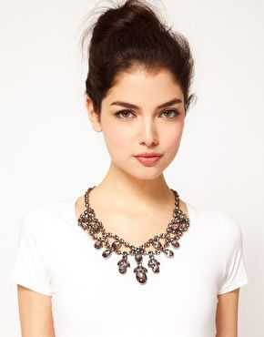 ASOS Premium Jewelled Bib Necklace- love the grey stones