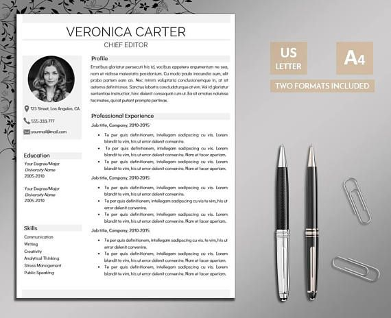 Resume Template 2 page Resume Resume Template Instant Pinterest - 2 page resume