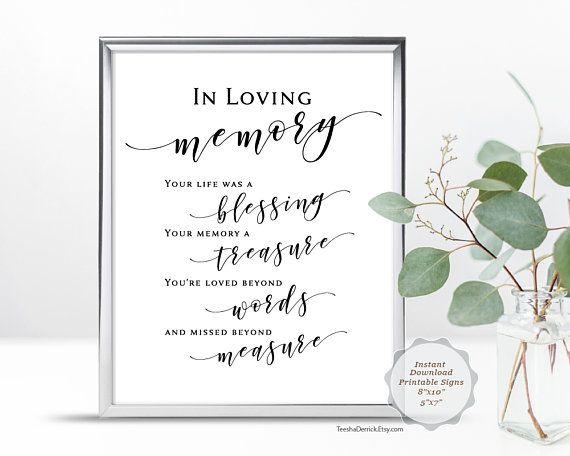 In Loving Memory Sign, PDF printable Template, Modern Rustic wedding ...