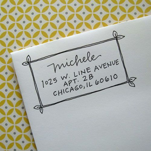 Michele handwritten address stamp your choice of self for Letter return address labels