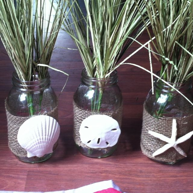 Centerpieces for the bridal shower maybe use potted beach