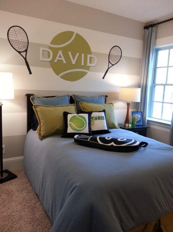 Tennis wall murals custom kids tennis bedroom wall - Wall mural ideas for bedroom ...