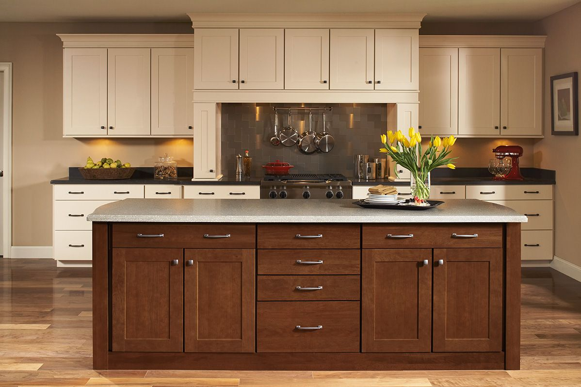Shenandoah Cabinetry, island in Mission Cherry Spice | Kitchen ...