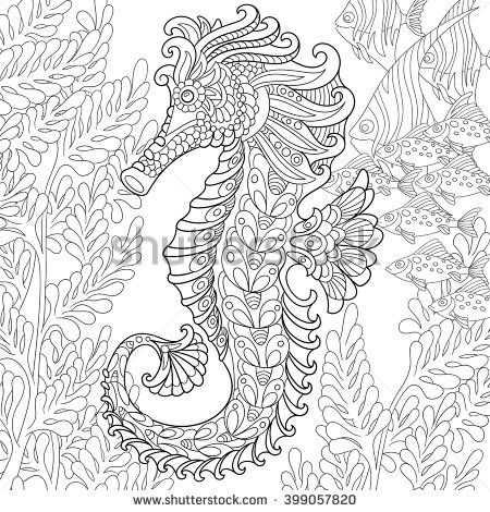 zentangle stylized cartoon seahorse and tropical fish among seaweed hand drawn sketch for adult. Black Bedroom Furniture Sets. Home Design Ideas