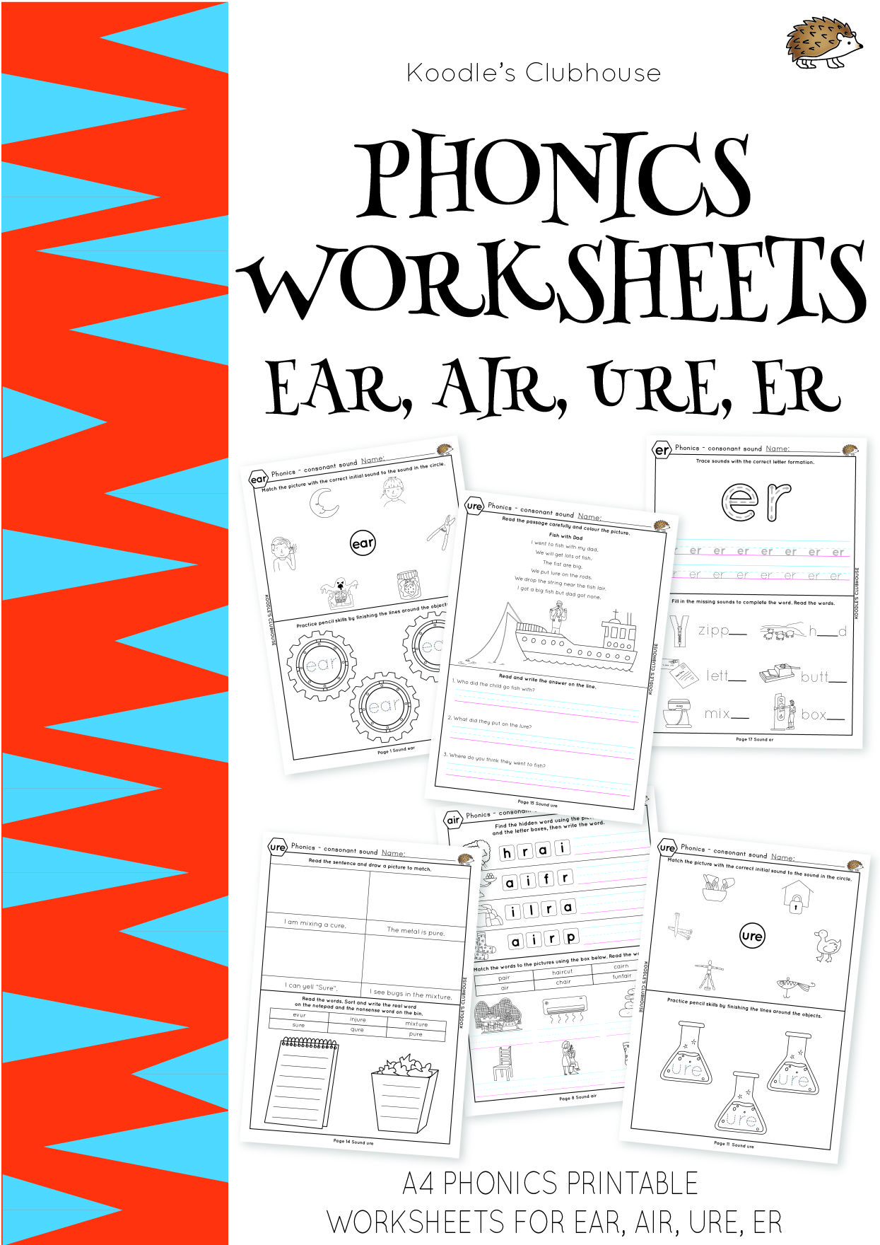 Phonics Worksheets Ear Air Ure Er