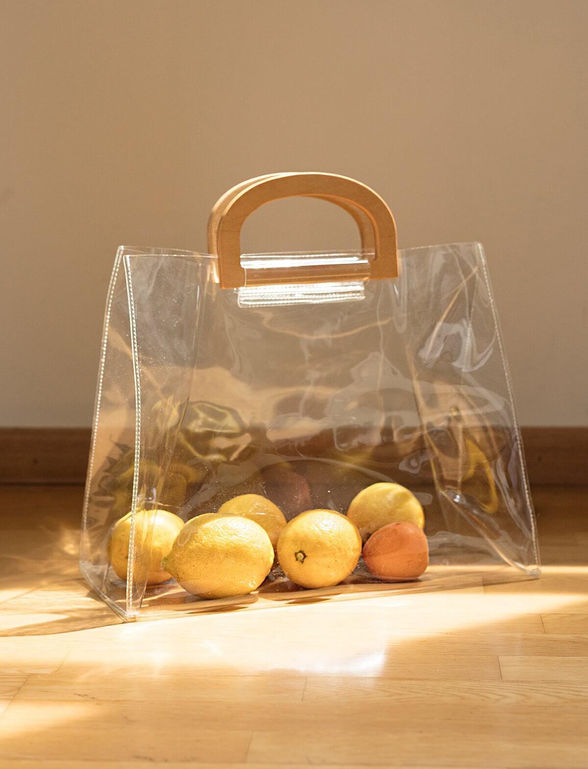 Wooden Handle Plastic Clear Tote Bag Clearplastictotes Handbags
