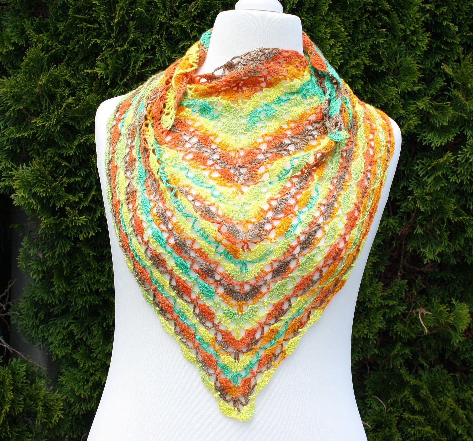 Mode Accessoires Tuch Schal Dreieckstuch Grun Gelb Orange