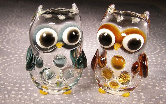 Hand Blown Glass Owl Salt And Pepper Shakers Stuffed