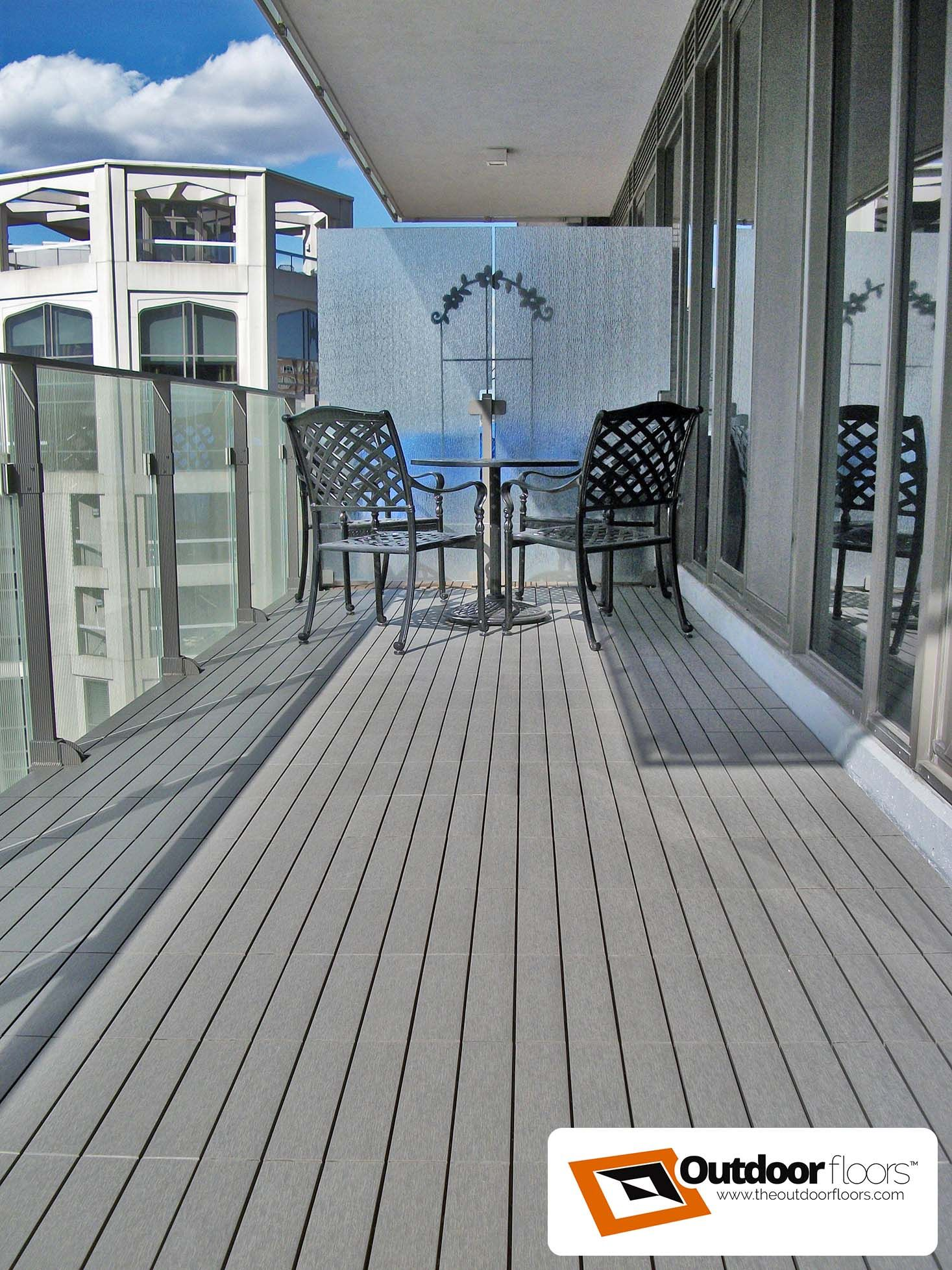 Cozy Toronto Balcony Lined With Our Silver Wpc Deck Tiles At Outdoor Floors