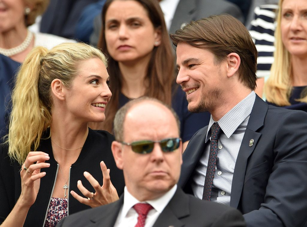 Tamsin Egerton & Josh Hartnett from 2015 Wimbledon: Star Sightings  The expectant actress and her hubby share a smile as they watch a match.
