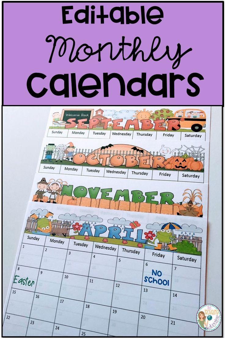 Monthly Calendar Editable Template (2019-2022)   Student ...