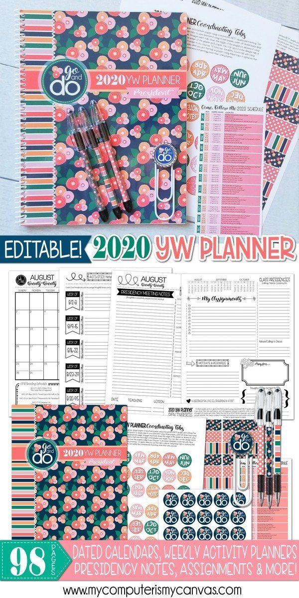 2020 YW Presidency Planner PRINTABLE (EDITABLE) #presidents