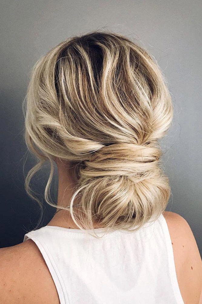 bridesmaid updos messy low bun on blonde hair ...