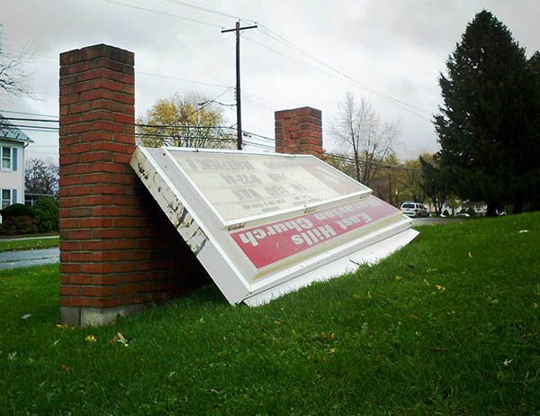 One of our insured business owners today out of Pittston had to submit a claim because the wind blew his sign off the building!  Make sure your business property includes any signs you purchased that are attached to your building or are scheduled if they are stand alone signs!  Your Shield of Security for 119 years - HobanInsurance.com
