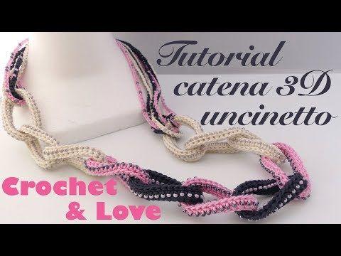 Tutorial Collana Catena 3d Ad Uncinetto Con Perline Youtube