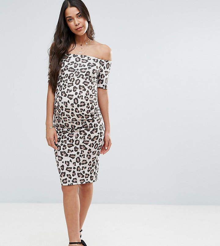 1eed29b456c1 Asos Maternity Off Shoulder Bardot Dress In Leopard Print | Dresses ...