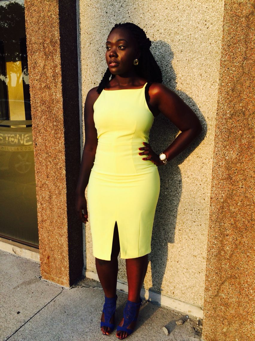 Neon Yellow Front-Slit H&M dress | Royal Blue Spring Heels #H&M ...