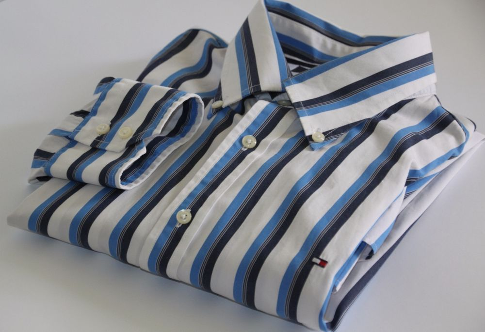 74911fabb MEN'S 'TOMMY HILFIGER' 80's TWO PLY COTTON PINSTRIPE SHIRT sz XL # TommyHilfiger #CasualShirts