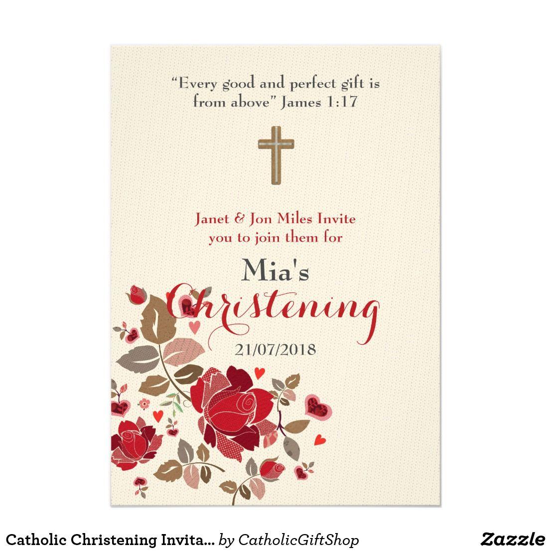 Catholic Christening Invitation Burgundy Floral