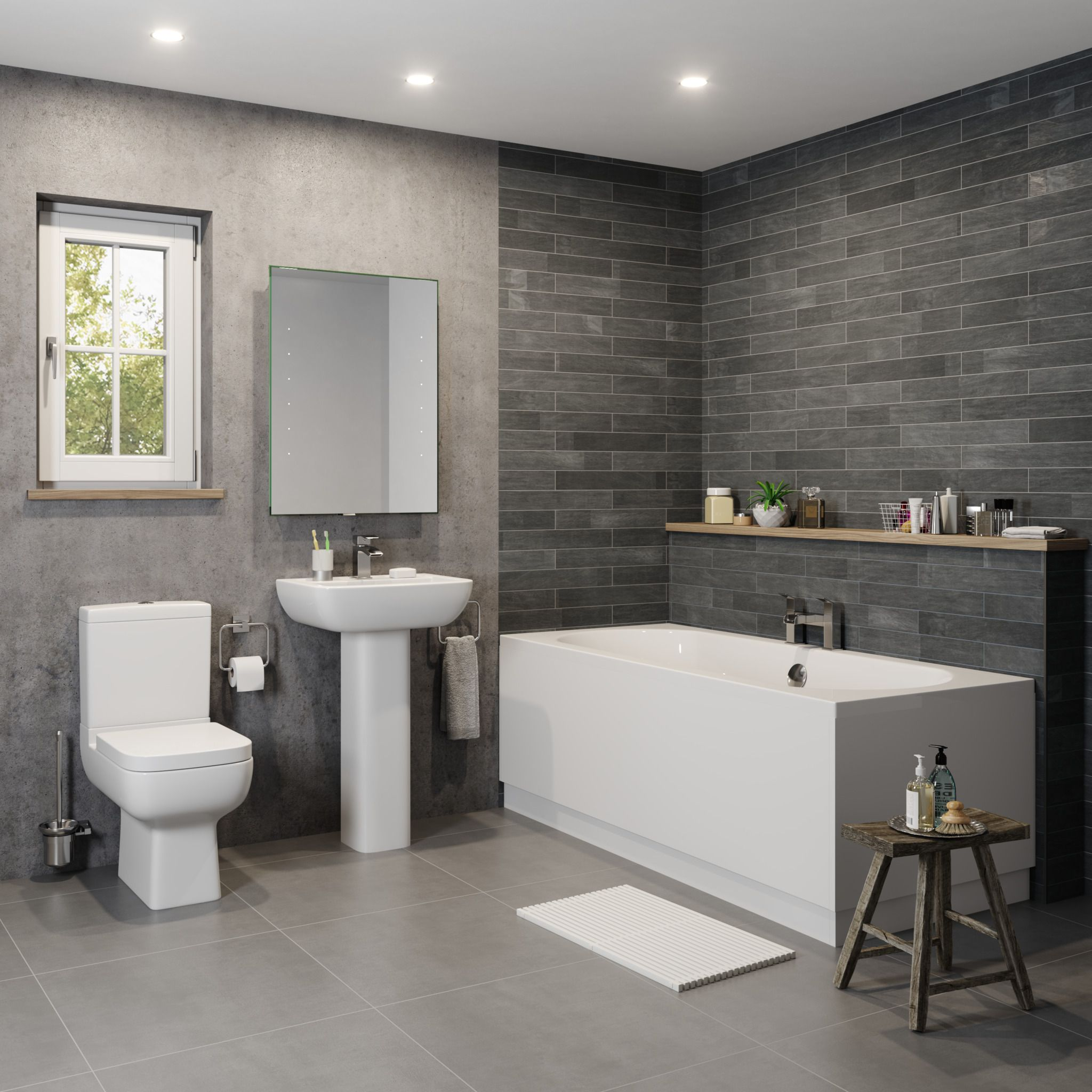 The Affine Amelie Double Ended Bath Suite Is Certainly The Definition Of Modern Boasting Bot Small Bathroom Ideas Uk Bathroom Ideas Uk Small Bathroom Makeover
