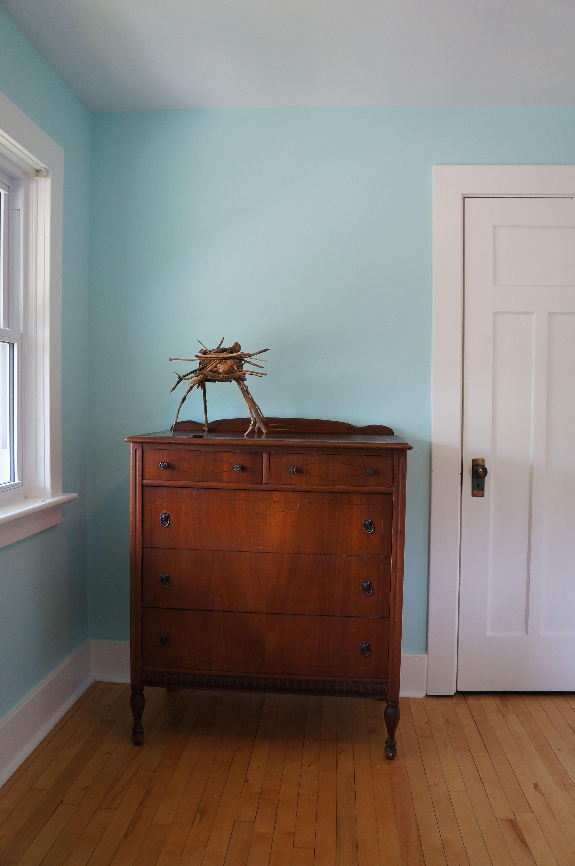 Benjamin Moore 'Forget me Not' blue walls, dad's old dresser. Guest room.  Jo Forrest.