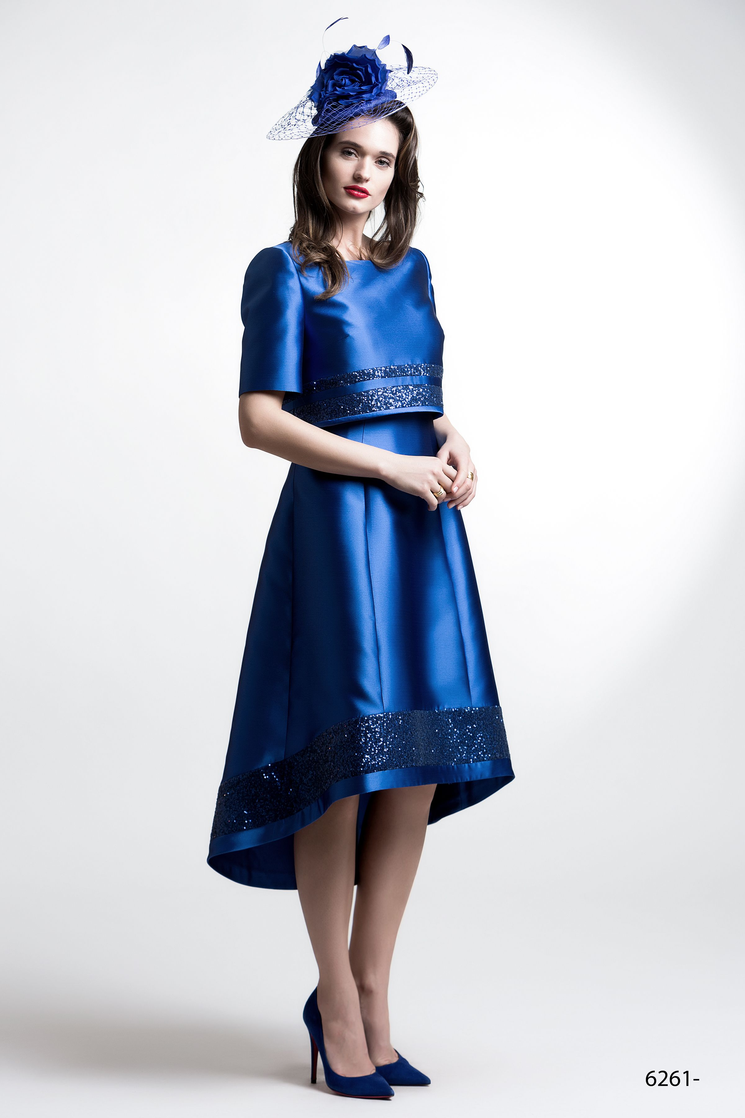 Royal blue dress and jacket in a fit and flare style with sequin ...