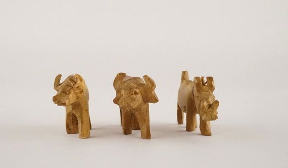 Set Of Three Small Wooden Animal Figurines Hand By Vicshops
